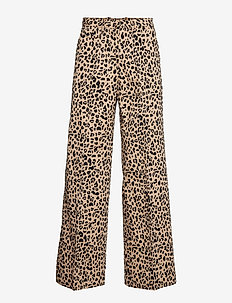 NATIA - wide leg trousers - beigeblack leo