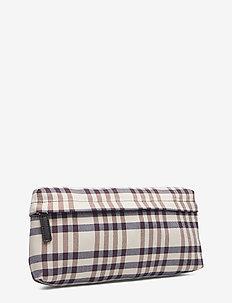 KIVO - bæltetasker - beigebluebrown check