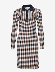 JAGGER - robes midi - brown blue houndstooth