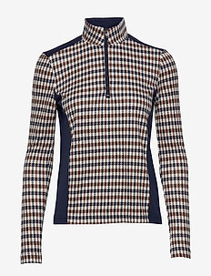 JADE - hauts à manches longues - brown blue houndstooth