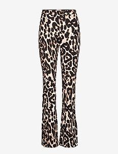 JONI - rette bukser - beige wild leopard