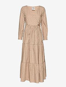 AYMELINE - wikkel jurken - blackincamel dots