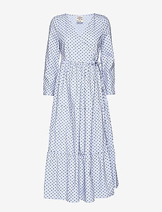 AYMELINE - robes portefeuille - browninblue dots