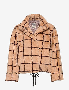 DINA - fake fur - camel check