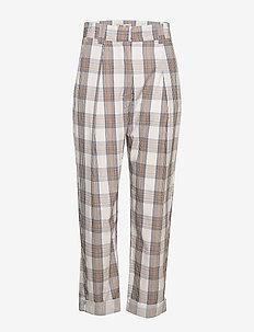 NOBERTA - bukser med lige ben - creamnavybrown checks