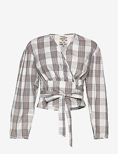 MIANNE - blouses à manches longues - creamnavybrown checks