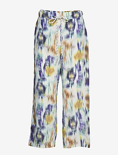 NUE - wide leg trousers - white blue floral blur