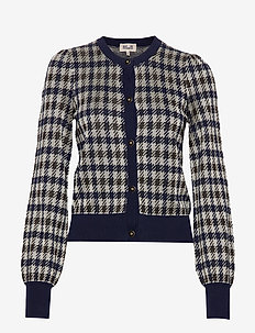 CALENDRE - cardigans - brown blue houndstooth