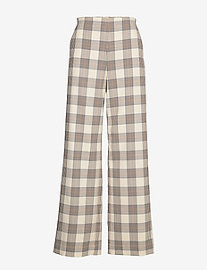 NYO - wide leg trousers - creamnavybrown checks