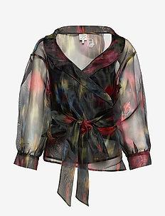MILOU - long sleeved blouses - black floral blur