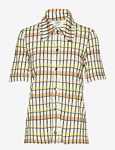 JOEY - short-sleeved blouses - yellow peach check