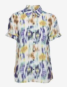 MOANNA - short-sleeved blouses - white blue floral blur