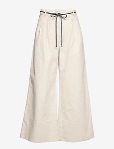 NOUR - bukser med brede ben - creamy beige