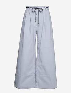 NOUR - wide leg trousers - eventide blue