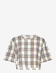 JEMMY - crop tops - creamnavybrown checks