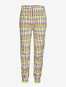 NEMA - casual bukser - peachyellowblack check