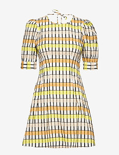 AURELIA - korte kjoler - peachyellowblack check