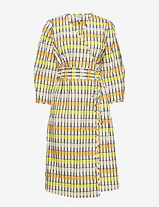 ABYLENE - robes portefeuille - peachyellowblack check