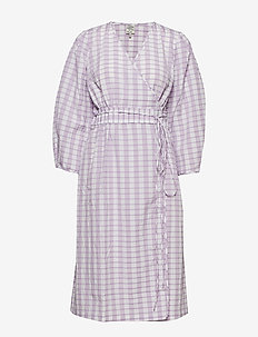 ABYLENE - robes portefeuille - creamy lilac check