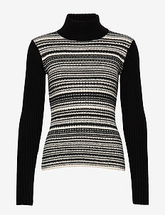CAMILLE - turtlenecks - blackwhite melange