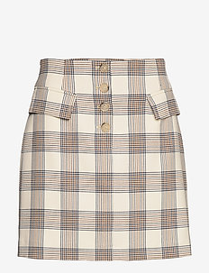 SHANI - short skirts - creamnavybrown checks