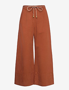 NOUR - wide leg trousers - rusty brown