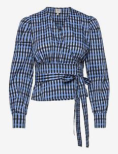 MAECI - blouses à manches longues - blue gingham