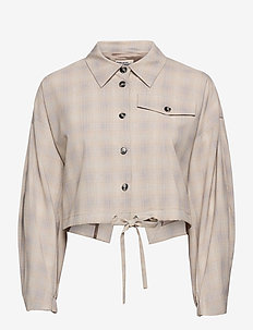 BRYCE - long sleeved blouses - soft cream check