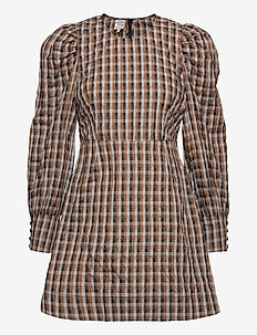 AIDINE - krótkie sukienki - tobacco gingham