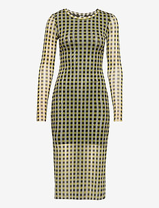 JOLANDA - robes midi - yellow black check