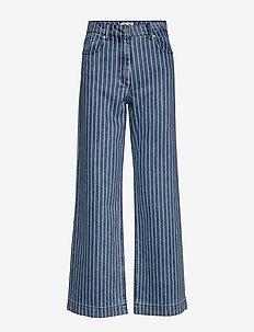 NIKKA - szerokie dżinsy - blue stripe denim