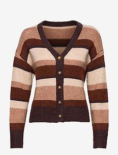CADI - swetry rozpinane - camel multi stripe