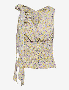 MICH - sleeveless blouses - grey ditzy floral