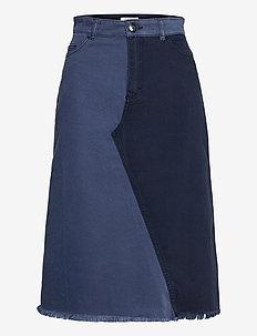 SHIA - jeanskjolar - denim blue patch