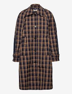 DANJA - trench coats - navy orange check