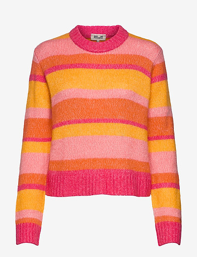 COLANA - sweaters - orange multi stripe