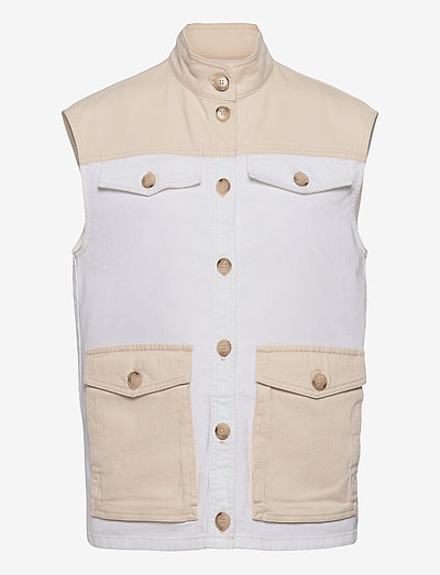 BEADU - knitted vests - denim creme patch