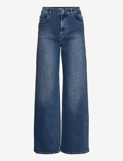NINI - broeken met wijde pijpen - blue washed denim