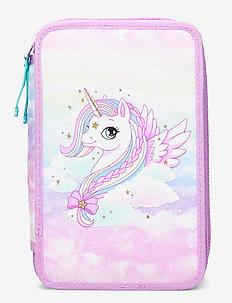 Three-section pencil case - Unicorn - piórniki - pink