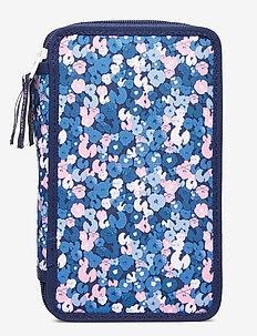 Three-section pencil case w/content, Sport jr. - Flower - Étuis à crayons - dark blue