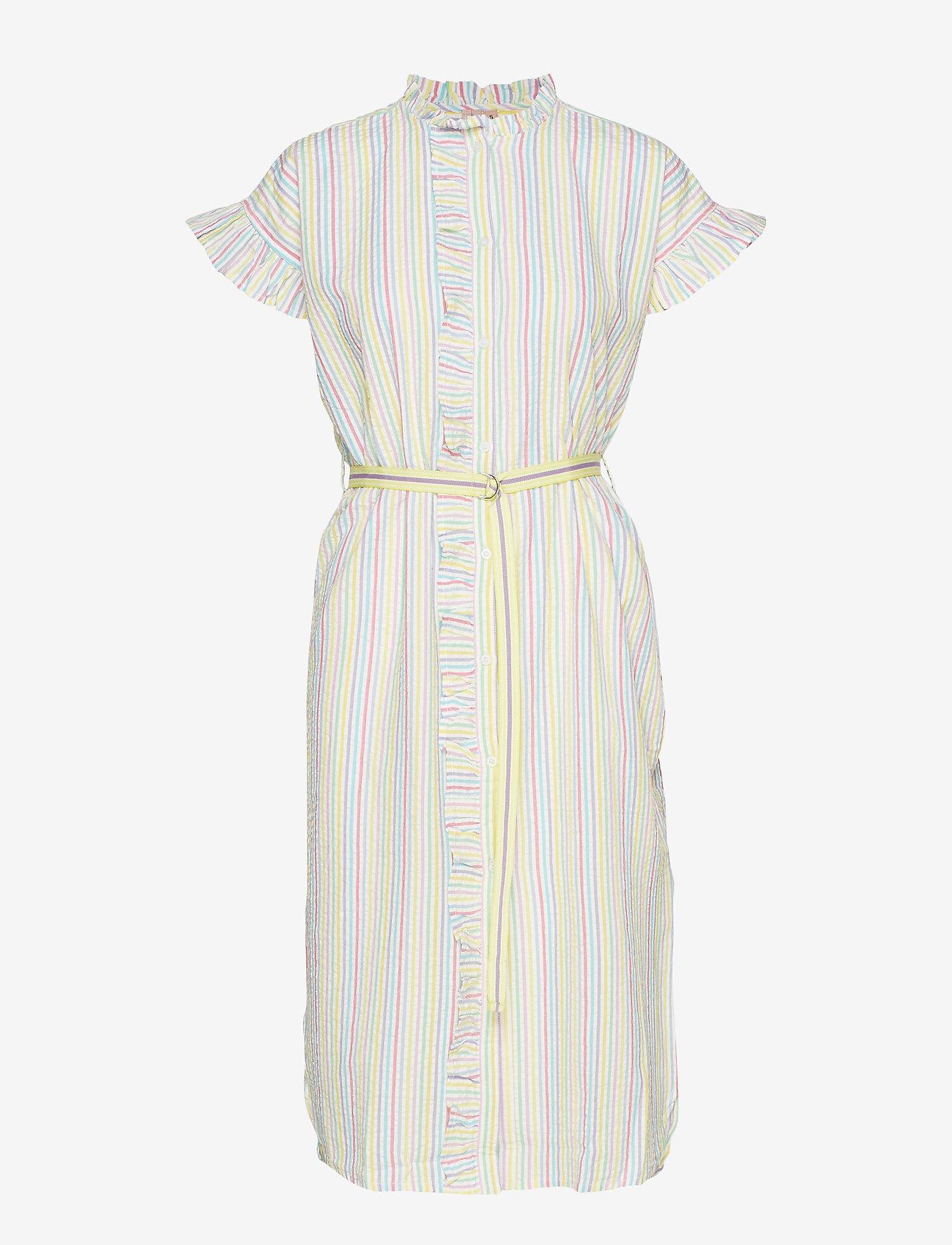 Becksöndergaard - Striped Casey Long Frill - midi kjoler - yellow - 1