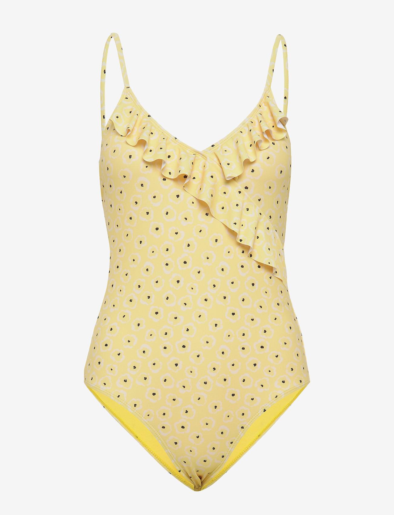Becksöndergaard - Prinia Frill Swimsuit - uimapuvut - pastel yellow - 0