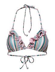 BECKSÖNDERGAARD Stria 2Frill Bikini Top - GREEN