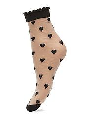 Dagmar Hearts Sock - BLACK