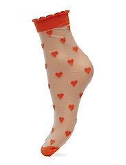 Dagmar Hearts Sock - ORANGE
