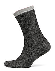 Dana Herringbone Frill Sock - BLACK