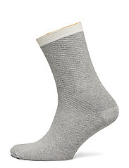 Dana Herringbone Frill Sock - LIGHT GREY