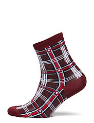Dagmar Multi Check Sock - BURGUNDY