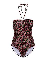 Raspy Bandeau Swimsuit - BLACK