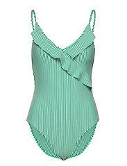 Striba Frill Swimsuit - GOLF GREEN